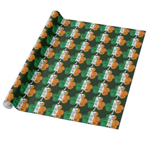 Vintage Irish Flag Shamrock Gift Wrapping Paper