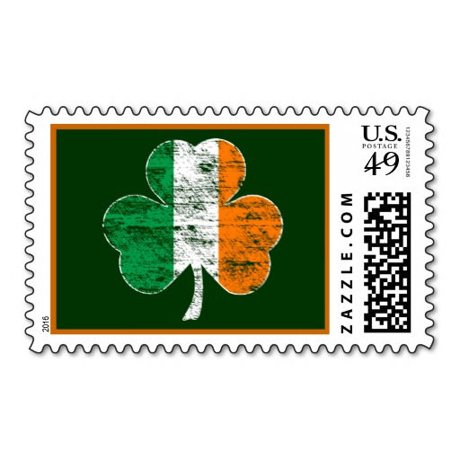 Vintage Irish Flag Shamrock Postage Stamp