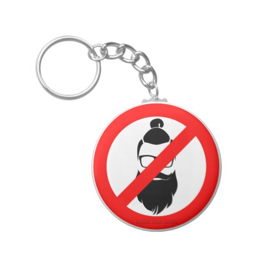 No Hipsters or Man Buns Basic Button Keychain
