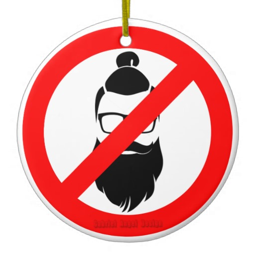 No Hipsters or Man Buns Circle Ornament