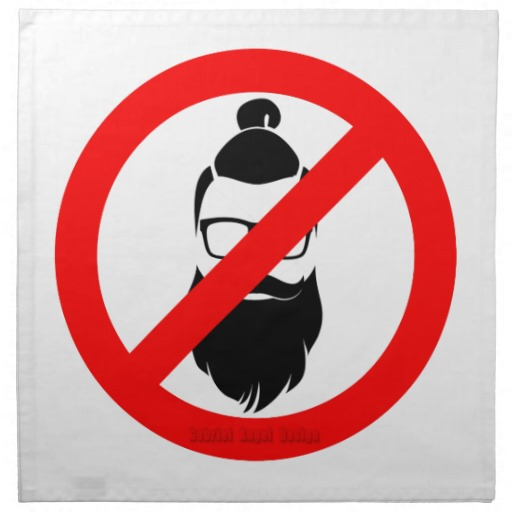 "No Hipsters or Man Buns Cloth Napkins (set of 4) dinner 20"" x 20"""