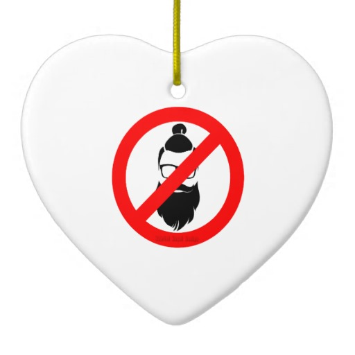 No Hipsters or Man Buns Heart Ornament