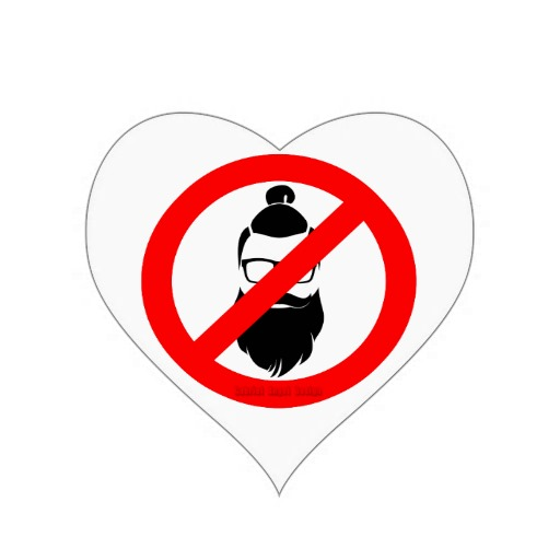 No Hipsters or Man Buns Heart Sticker