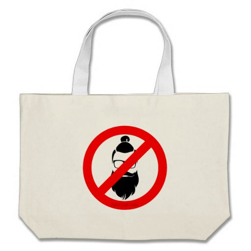 No Hipsters or Man Buns Jumbo Tote