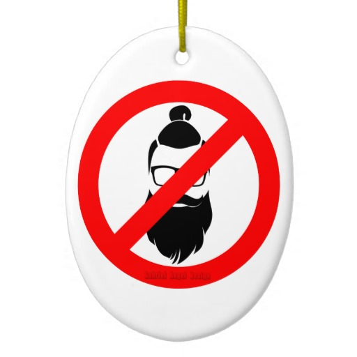 No Hipsters or Man Buns Oval Ornament