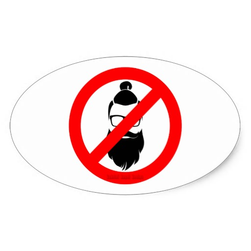 No Hipsters or Man Buns Oval Sticker