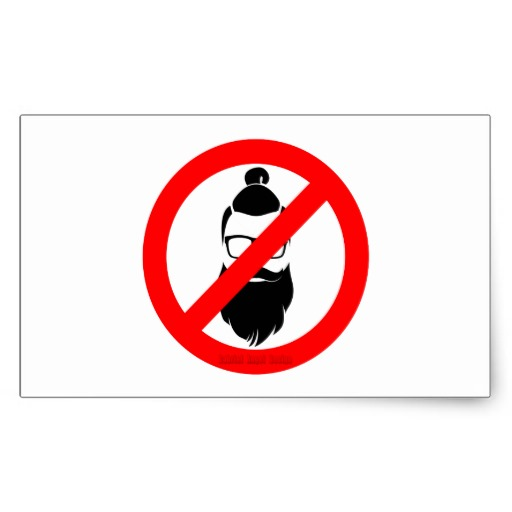 No Hipsters or Man Buns Rectangular Sticker