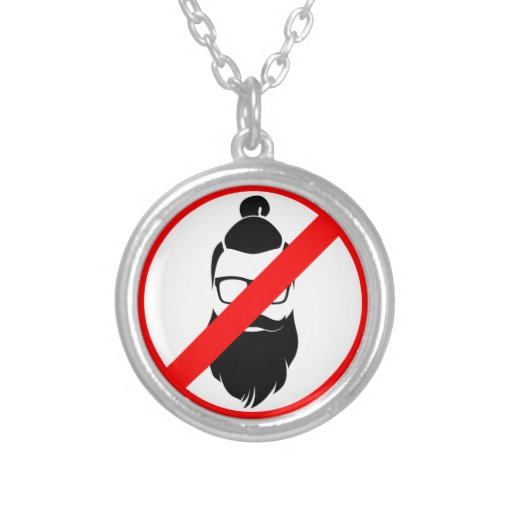 No Hipsters or Man Buns Round Necklace