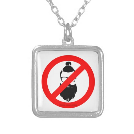 No Hipsters or Man Buns Square Necklace