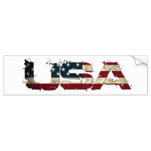 USA in Flag Lettering Bumper Sticker
