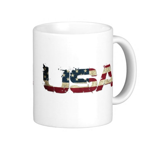 USA in Flag Lettering Classic White Mug