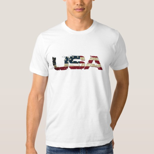 USA in Flag Lettering Men's Basic American Apparel T-Shirt