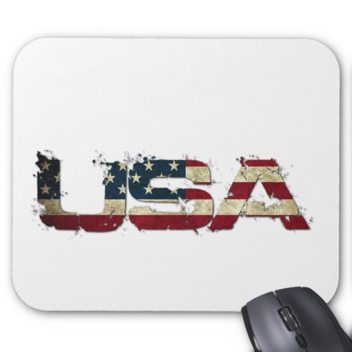 USA in Flag Lettering Mousepad