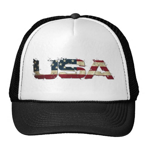 USA in Flag Lettering Trucker Hat