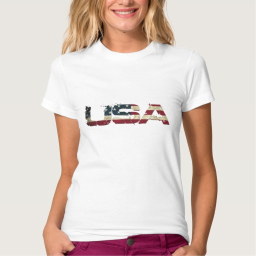 USA in Flag Lettering Women's American Apparel Fine Jersey T-Shirt