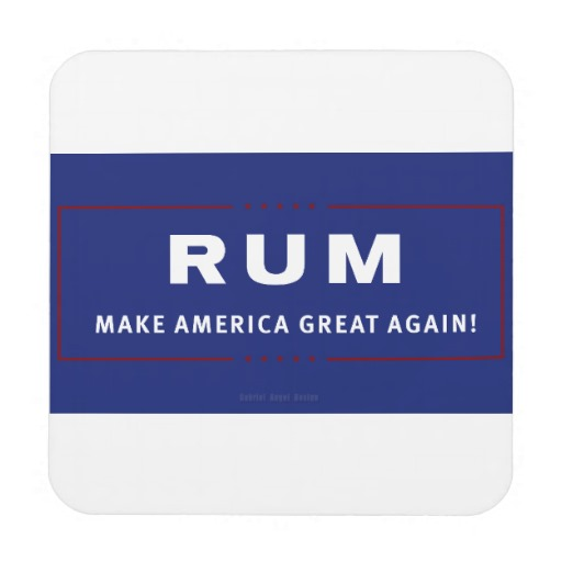 Rum Make America Great Again Hard Plastic coasters with cork back - set of 6