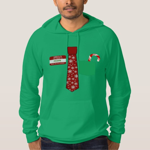 Christmas Tie with Name Tag and Candy Cane American Apparel California Fleece Pullover Hoodie