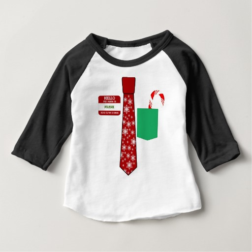 Christmas Tie with Name Tag and Candy Cane Baby American Apparel 3/4 Sleeve Raglan T-Shirt