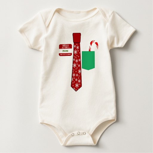 Christmas Tie with Name Tag and Candy Cane Baby American Apparel Organic Bodysuit