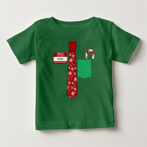 Christmas Tie with Name Tag and Candy Cane Baby Fine Jersey T-Shirt