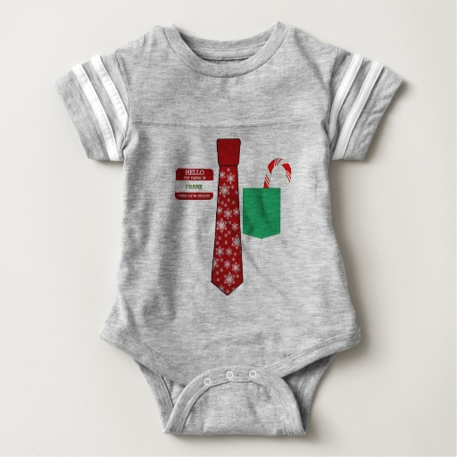 Christmas Tie with Name Tag and Candy Cane Baby Football Bodysuit