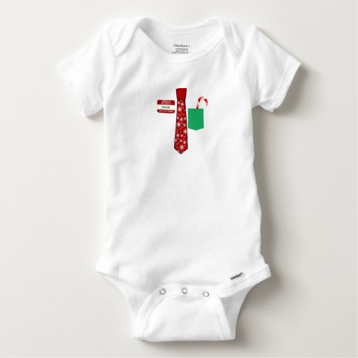 Christmas Tie with Name Tag and Candy Cane Baby Gerber Cotton Onesie