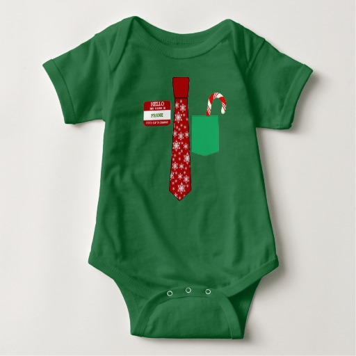 Christmas Tie with Name Tag and Candy Cane Baby Jersey Bodysuit