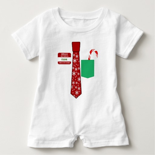 Christmas Tie with Name Tag and Candy Cane Baby Romper