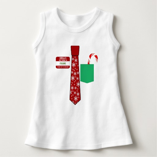 Christmas Tie with Name Tag and Candy Cane Baby Sleeveless Dress