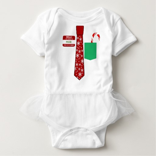 Christmas Tie with Name Tag and Candy Cane Baby Tutu Bodysuit