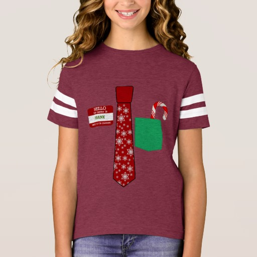 Christmas Tie with Name Tag and Candy Cane Girls' Football Shirt