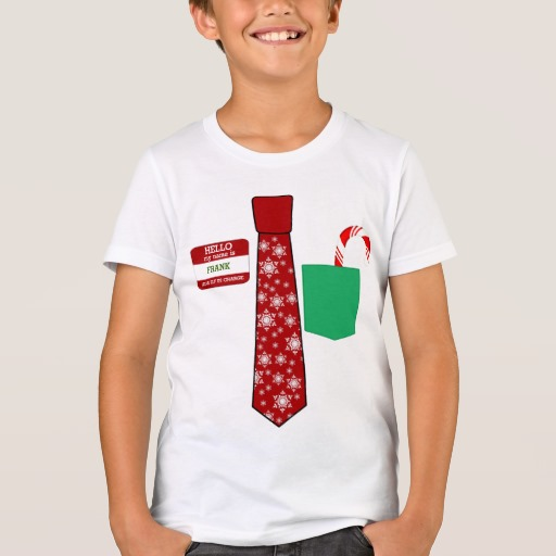 Christmas Tie with Name Tag and Candy Cane Kids' Bella+Canvas Crew T-Shirt