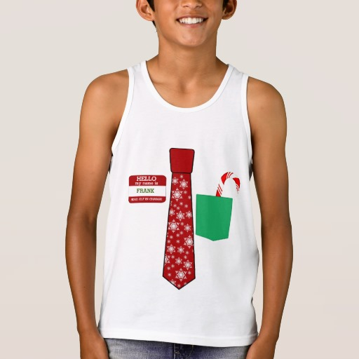 Christmas Tie with Name Tag and Candy Cane Kids' Bella+Canvas Jersey Tank Top