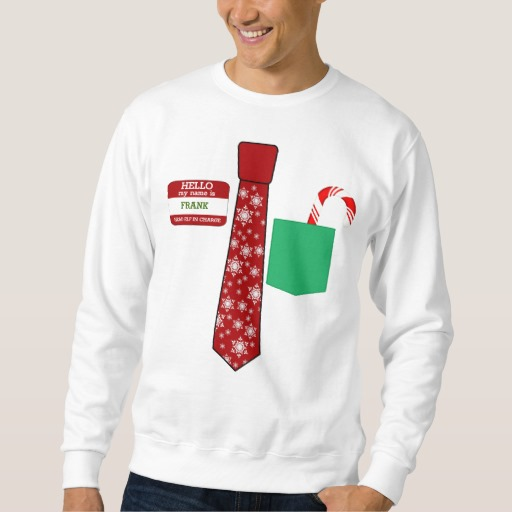 Christmas Tie with Name Tag and Candy Cane Men's Basic Sweatshirt