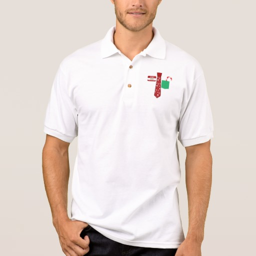 Christmas Tie with Name Tag and Candy Cane Men's Gildan Jersey Polo Shirt