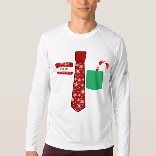 Christmas Tie with Name Tag and Candy Cane Men's New Balance Long Sleeve T-Shirt