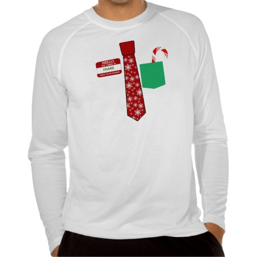 Christmas Tie with Name Tag and Candy Cane Men's Sport-Tek Fitted Performance Long Sleeve T-Shirt