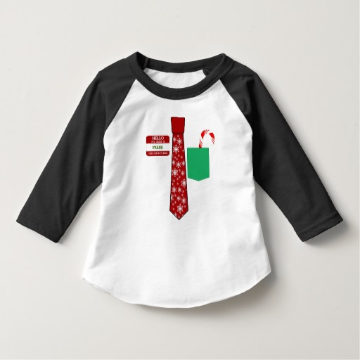 Christmas Tie with Name Tag and Candy Cane Toddler American Apparel 3/4 Sleeve Raglan T-Shirt
