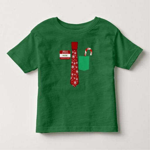 Christmas Tie with Name Tag and Candy Cane Toddler Fine Jersey T-Shirt