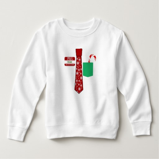 Christmas Tie with Name Tag and Candy Cane Toddler Fleece Sweatshirt