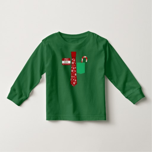 Christmas Tie with Name Tag and Candy Cane Toddler Long Sleeve T-Shirt
