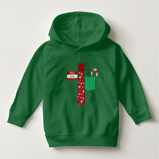 Christmas Tie with Name Tag and Candy Cane Toddler Pullover Hoodie