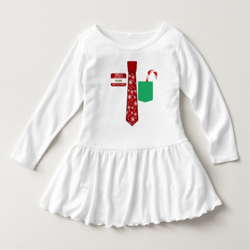 Christmas Tie with Name Tag and Candy Cane Toddler Ruffle Dress