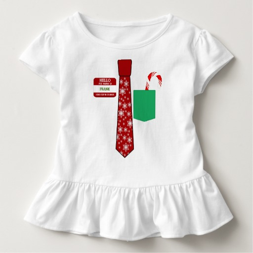 Christmas Tie with Name Tag and Candy Cane Toddler Ruffle Tee