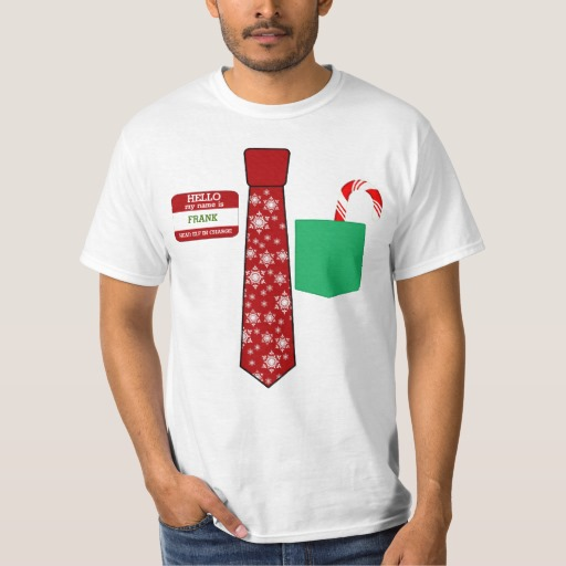 Christmas Tie with Name Tag and Candy Cane Value T-Shirt