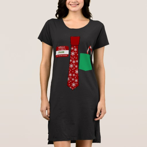 Christmas Tie with Name Tag and Candy Cane Women's Alternative Apparel T-Shirt Dress