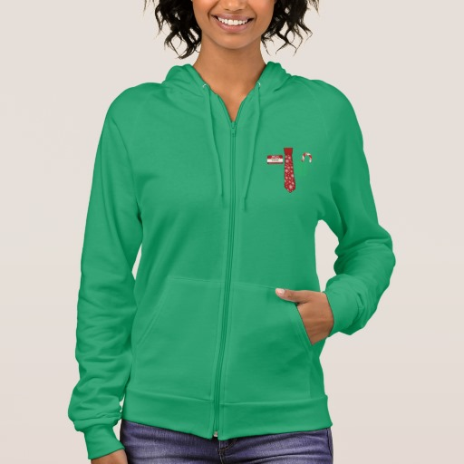 Christmas Tie with Name Tag and Candy Cane Women's American Apparel California Fleece Zip Hoodie