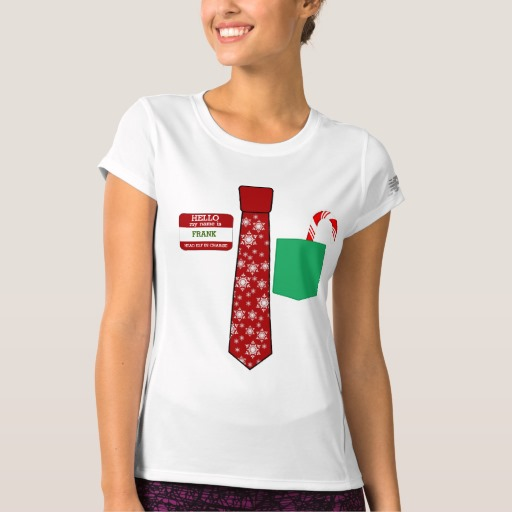Christmas Tie with Name Tag and Candy Cane Women's New Balance T-Shirt