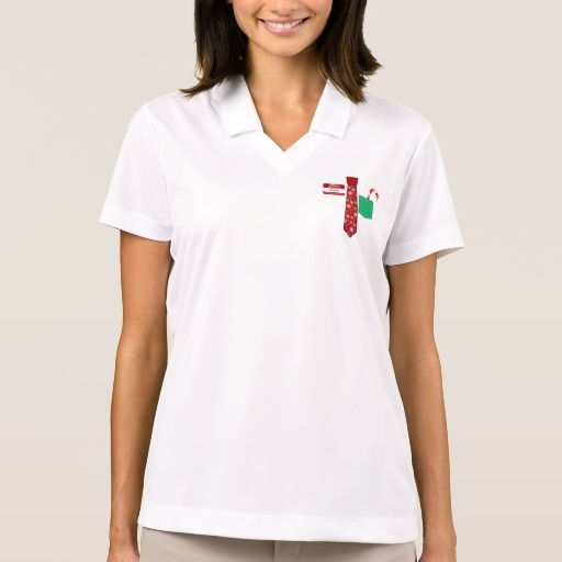 Christmas Tie with Name Tag and Candy Cane Women's Nike Dri-FIT Pique Polo Shirt
