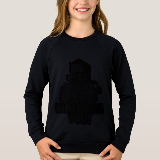 Santa I'm Watching You Girls' American Apparel Raglan Sweatshirt